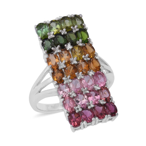 5 Carat Rainbow Tourmaline Rainbow Cluster Ring in Rhodium Plated Sterling Silver 5.82 Grams