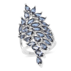 Simulated Blue Sapphire (Pear) Ring in Silver Plated