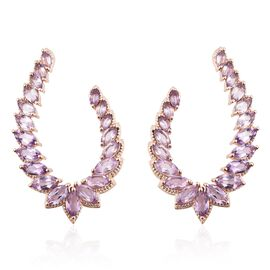 Rose De France Amethyst (Mrq) Earrings (with Push Back) in Rose Gold Overlay Sterling Silver 9.500 C
