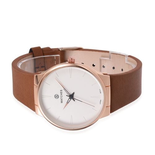 STRADA Japanese Movement Rose Gold Plated Water Resistant Watch with Camel Colour Strap