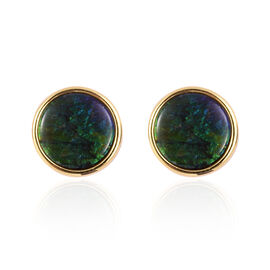 AA Canadian Ammolite (Rnd) Stud Earrings (with Push Back) in Yellow Gold Overlay Sterling Silver 5.000 Ct.