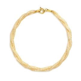 Italian Made - 9K Yellow Gold Cubic Zirconia Tuscan Crochet Bracelet (Size 7.5)