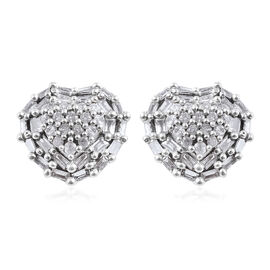 9K White Gold SGL Certified Diamond (Bgt and Rnd) (I3/G-H) Heart Stud Earrings (with Push Back) 0.50