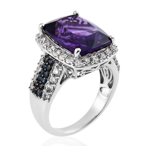 Amethyst (Ovl 10.50 Ct), Natural Cambodian Zircon and Kanchanaburi Blue Sapphire Ring in Platinum Overlay Sterling Silver 13.000 Ct. Silver wt 7.01 Gms.