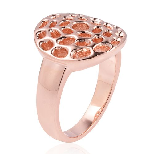RACHEL GALLEY Rose Gold Overlay Sterling Silver Enkai Sun Small Disc Ring, Silver wt 5.18 Gms.