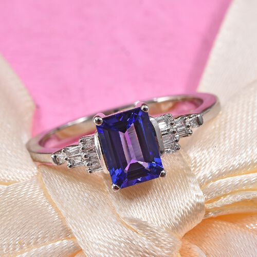 RHAPSODY 950 Platinum AAAA Tanzanite (Oct), Diamond (VS/E-F) Ring 1.10 Ct.