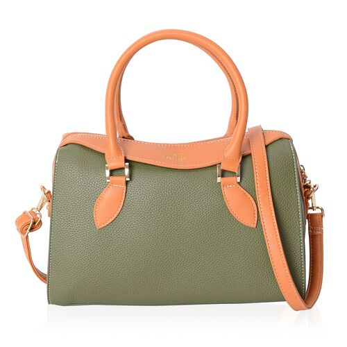 TW11 COLLECTION Dark Green Tote Bag with External Zipper Pocket and Removable Shoulder Strap (Size 3