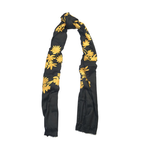 100% Merino Wool Black and Gold Colour Embroidered Floral Shawl (Size 200x70 Cm)