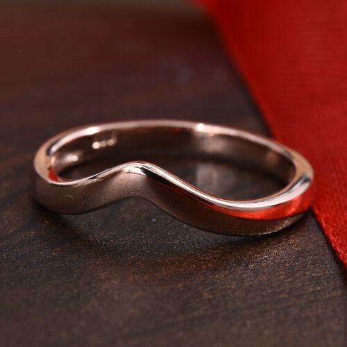 Rose Gold Overlay Sterling Silver Wishbone V Shape Stacker Ring