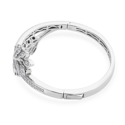 J Francis Platinum Overlay Sterling Silver Leaf Design Bangle (Size 7.5) Made with SWAROVSKI ZIRCONIA 5.80 Ct, Silver wt 36.00 Gms