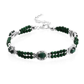 Malachite (Ovl 7x5 mm), Green Beads Bracelet (Size 7.50 with 1.5 inch Extender) in Sterling Silver 21.500 Ct., Silver wt 5.00 Gms.