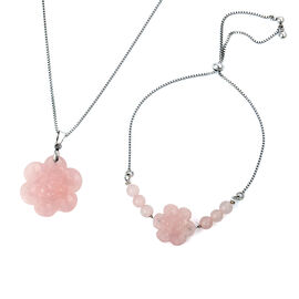 3 Piece Set - Rose Quartz Floral Adjustable Bracelet and Pendant with Chain (Size 20) in Stainless S