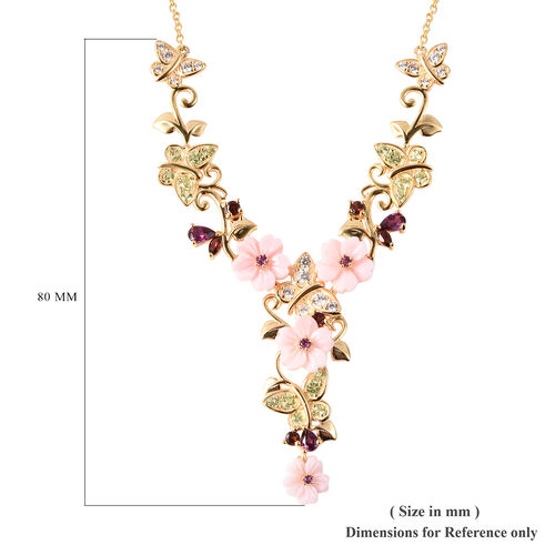Jardin Collection - Pink Mother of Pearl, Rhodolite Garnet and Multi Gemstone Floral Vine Necklace (Size 18) in Yellow Gold Overlay Sterling Silver, Silver wt 10.79 Gms