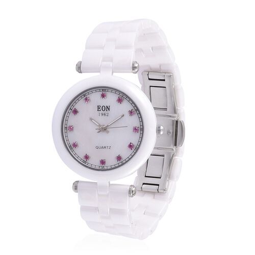 EON White Ceramic SWISS MOVEMENT Burmese Ruby Studded Mother of Pearl Sapphire Glass Watch