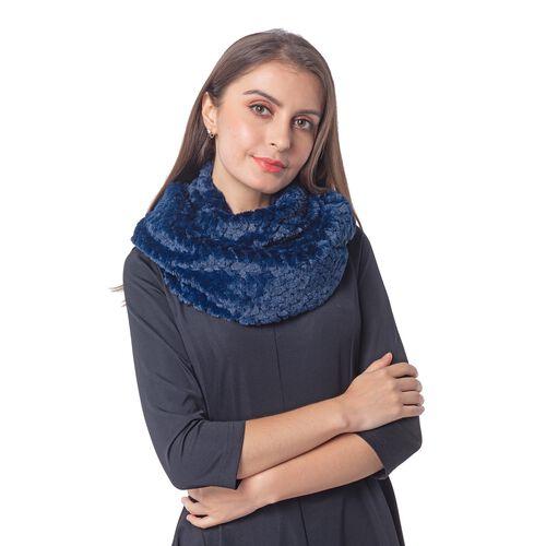 Italian Designer Inspired-High Quality Faux Fur Infinity Scarf (76x20cm) - Blue