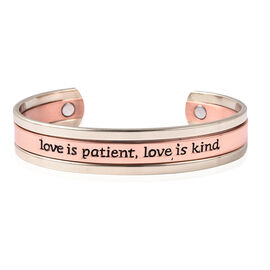 Love is Patient, Love is kind Quote Cuff Bangle (Size 6.75) with Magnets in Dual Tone