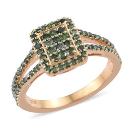 Green Diamond (Rnd) Ring in 14K Gold Overlay Sterling Silver 0.500 Ct.