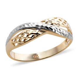 Royal Bali Collection Criss Cross Ring in 9K Yellow and White Gold