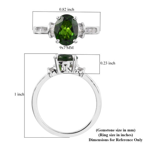 Russian Diopside(Ovl 9x7) and Diamond Ring in Platinum Overlay Sterling Silver 2.00 Ct.