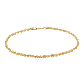 One Time Close Out Deal 9K Yellow Gold Rope Bracelet (Size 7.5)