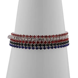 Set of 5 - Red, Pink, White, Blue and Green Austrian Crystal Bracelet (Size 6.5) in Silver Tone