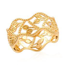White Diamond Leaf Vine Ring in 14K Gold Overlay Sterling Silver