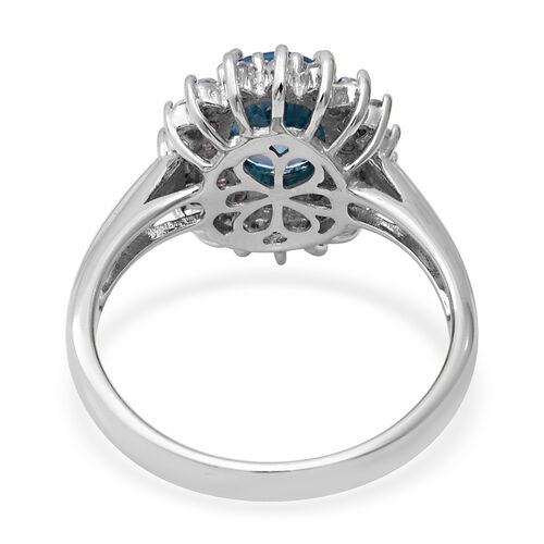 Ratanakiri Blue Zircon and Natural Cambodian Zircon Halo Ring in Rhodium Overlay Sterling Silver 3.72 Ct.