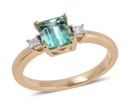 ILIANA 18K Yellow Gold AAA Boyaca Colombian Emerald (Oct 1.250 Ct) Diamond (SI/G-H) Ring  1.350 Ct.