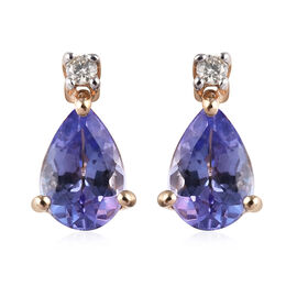 9K Yellow Gold AA Tanzanite (Pear 6x4mm), Diamond Earrings (with Push Back) 0.77 Ct.