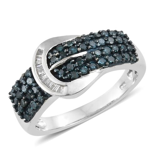 Designer Inspired - Blue Diamond and White Diamond Buckle Ring in Platinum Overlay Sterling  Silver 0.500 Ct.
