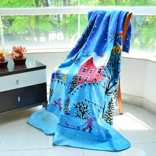 Super Soft Snow-Village Print Pattern Fleece Throw - 200 Gsm -  Size 130x170cm.