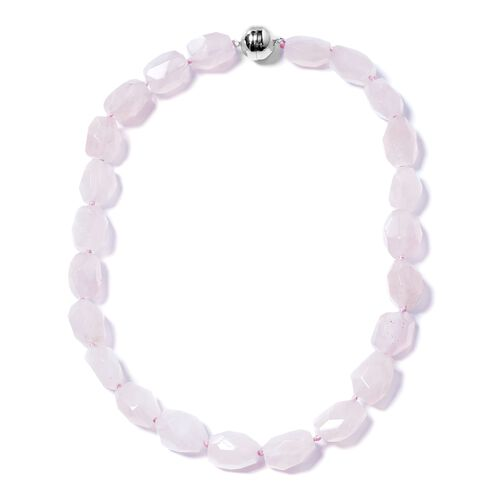 Super Auction- Statement Collection- Faceted Cut Fancy Shaped Rose Quartz Beads Necklace (Size 20) in Rhodium Overlay Sterling Silver 400.000 Ct