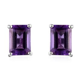 Amethyst (Oct) Stud Earrings (with Push Back) in Platinum Overlay Sterling Silver 2.000 Ct.