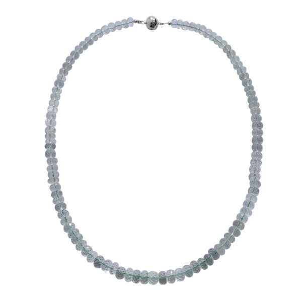 230 Ct Green Amethyst Beaded Necklace in Rhodium Plated Silver 20 Inch