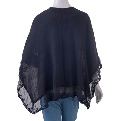 Black Colour Poncho with Embellished Net Lace