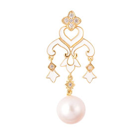 Edison Pearl and Natural Cambodian Zircon Chandelier Enamelled Pendant in Yellow Gold Overlay Sterli
