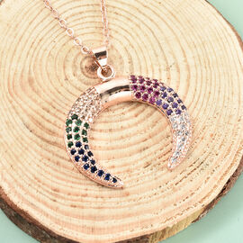 Simulated Multi Gemstone Crescent Moon Pendant with Chain (Size 20 with 2.5 Inch Extender) in Rose Gold Tone