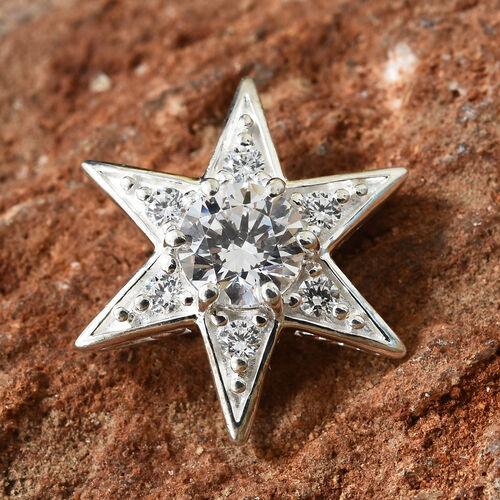 J Francis - Sterling Silver (Rnd) Star Pendant Made With SWAROVSKI ZIRCONIA