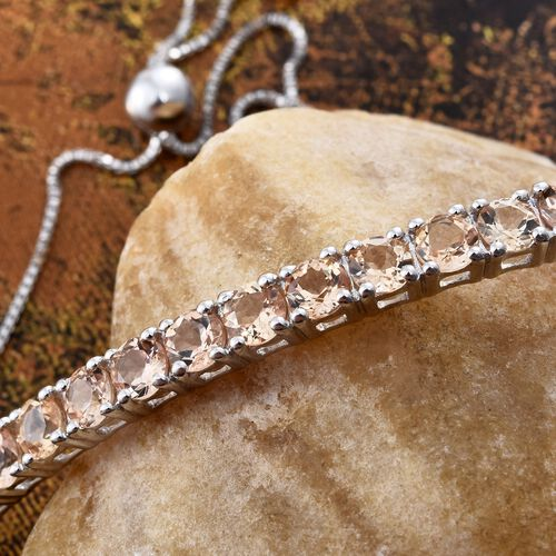 Imperial Topaz (Rnd) Friendship Bolo Bracelet (Size 6.5-8) in Platinum Overlay Sterling Silver 4.250 Ct.