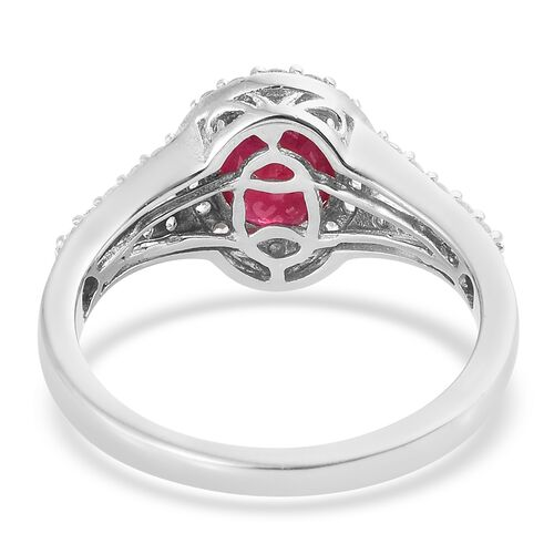 African Ruby (Ovl 2.70 Ct), Natural Cambodian Zircon Ring in Platinum Overlay Sterling Silver 3.500 Ct.