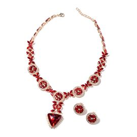 2 Pcs Set Red Glass and White Crystal Floral Necklace and Stud Earring 18 Inch