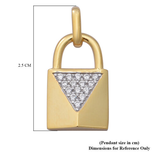ELANZA Simulated Diamond Lock Pendant in Yellow Gold Overlay Sterling Silver