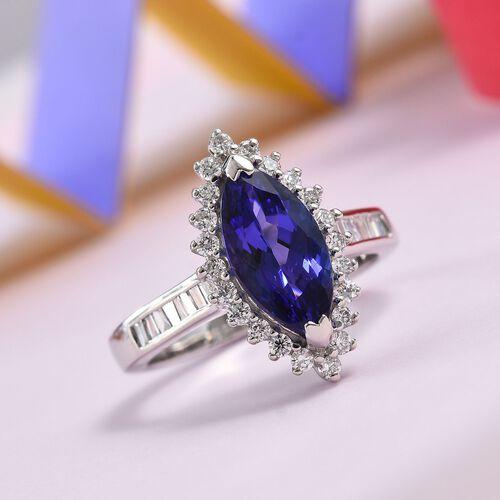 RHAPSODY 950 Platinum AAAA Tanzanite (Mrq 12x6mm), Diamond (VS/E-F) Ring 2.78 Ct, Platinum wt 6.16 Gms