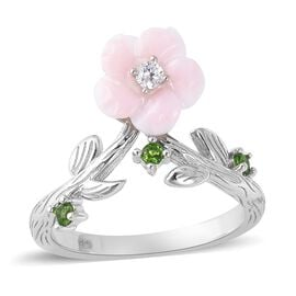Pink Mother of Pearl (1.70 Ct),Russian Diopside,White Zircon Sterling Silver Ring  1.915  Ct.