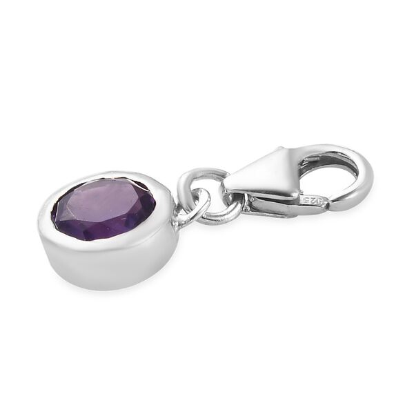 AA Amethyst (Rnd) Charm in Platinum Overlay Sterling Silver
