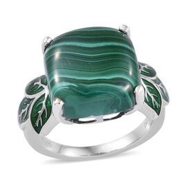 GP Malachite (Cush 13x13 mm), Blue Sapphire Ring in Enameled and Platinum Overlay Sterling Silver 12