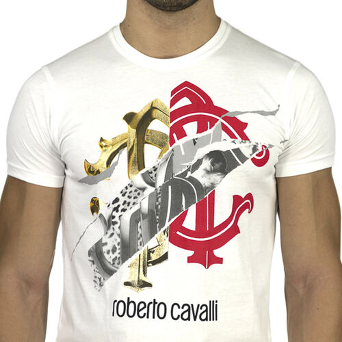 Roberto Cavalli Crew Neck Short Sleeve T-Shirt (Size M) - White
