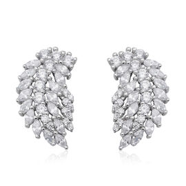 ELANZA Simulated Diamond Feather Design Earrings (with Push Back) in Sterling Silver
