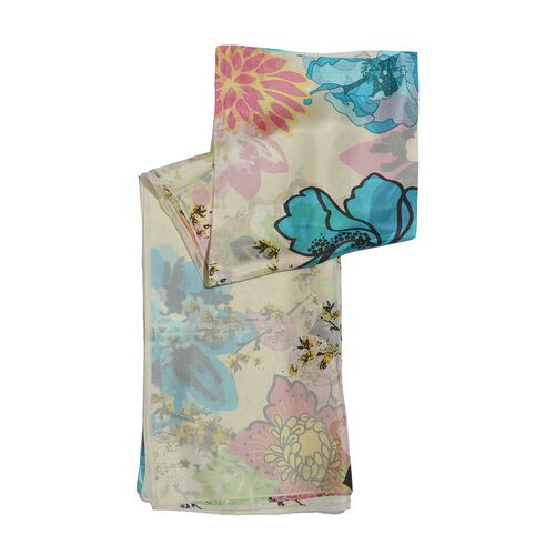 100% Mulberry Silk Light Blue and Multi Colour Floral Pattern Cream Colour Scarf (Size 180x100 Cm)
