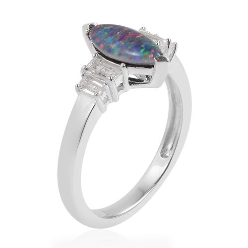 Australian Boulder Opal (Mrq), White Topaz Ring in Sterling Silver